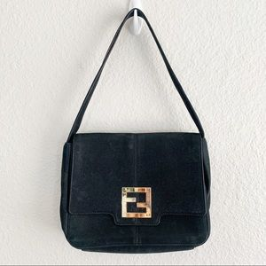 Fendi Chain Trim Flap Bag with Shimmery Leather